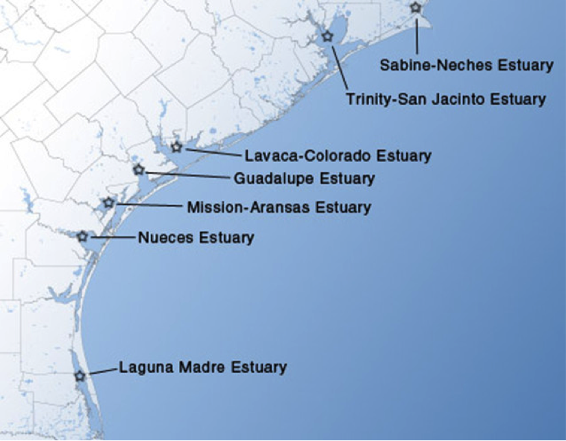 Texas estuaries for which inflow studies were performed.